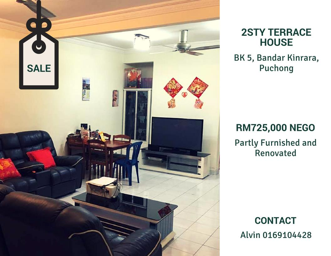 2sty Terrace House for sale, BK 5, Bandar Kinrara, Puchong