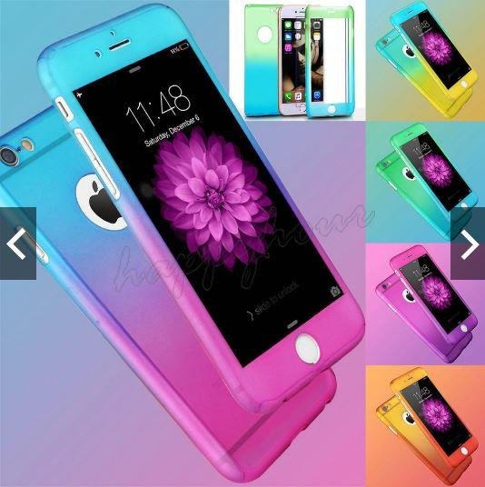 best service 57840 ffaec 2Tone Iphone 5S 6S 6+ 7 360 Full Protection Case (FREE Tempered Glass)
