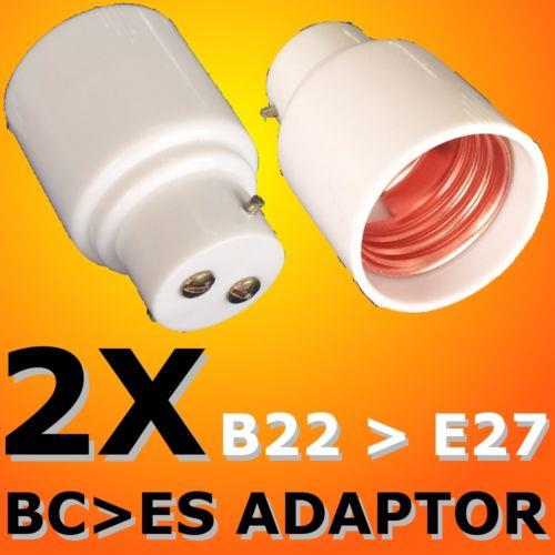 2x BC to ES Lamp Holder Adapter B22 to E27 Converter tukar kit NEW