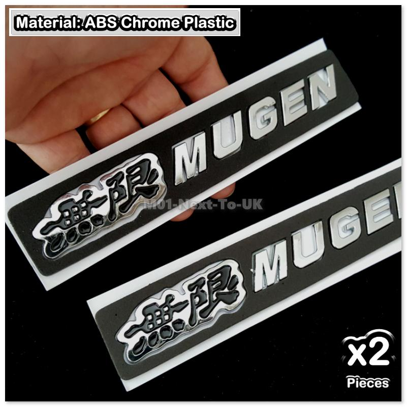 2x MUGEN Black italic Chrome 3D Car Trunk Badge Side Auto Emblem Logo