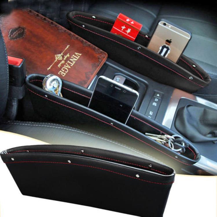 2x PU Leather Catch Catcher Box Caddy Car Seat Gap Slit Pocket Storage