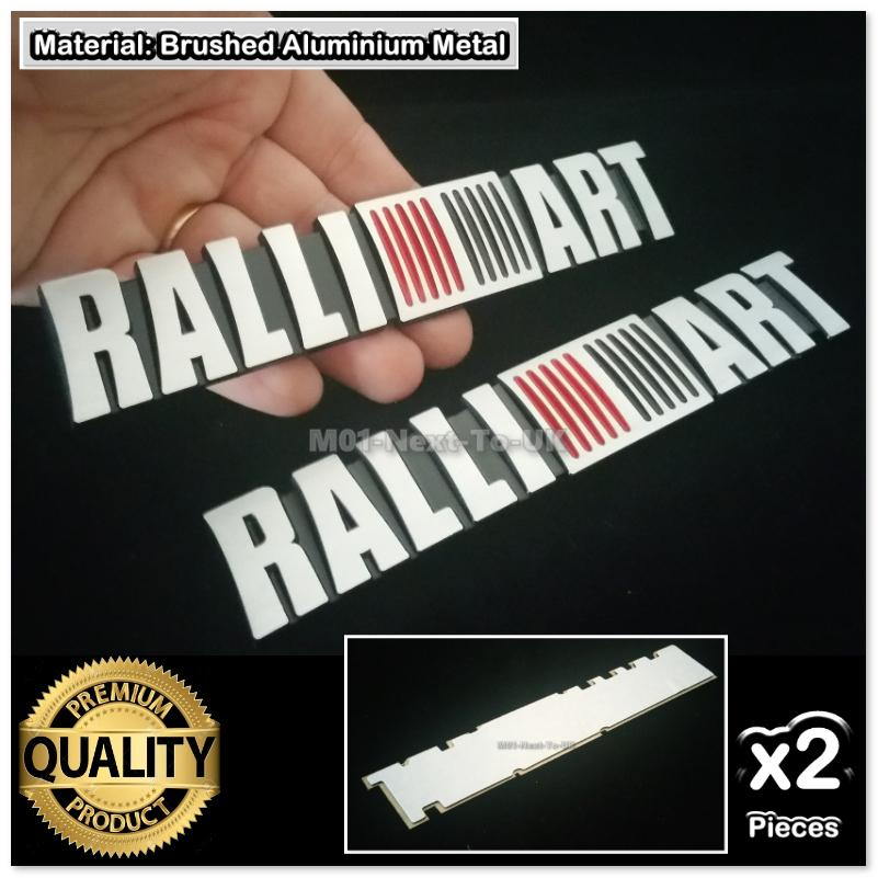 2x Ralliart HQ Aluminium Metal 3D Car Badge Emblem Brushed Alloy Inter