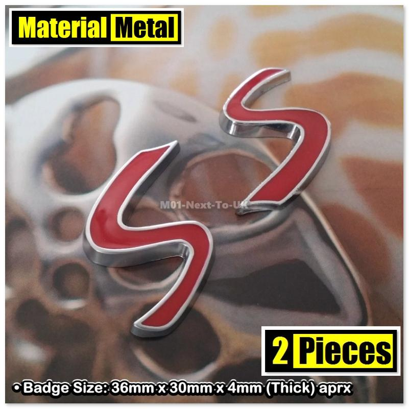 2x SMALL 3.6cm S CHROME RED HQ 3D Chrome Metal Car Trunk Badge Side Au