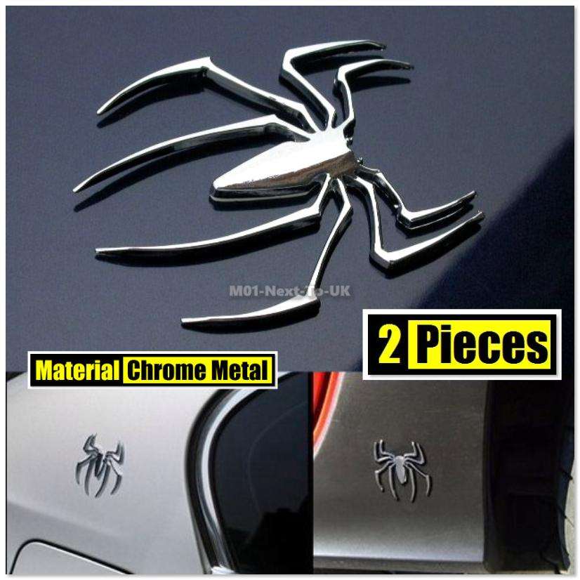 2x Spider Metal Chrome Alloy Badge 3D Car Decal Emblem Logo Sign Auto