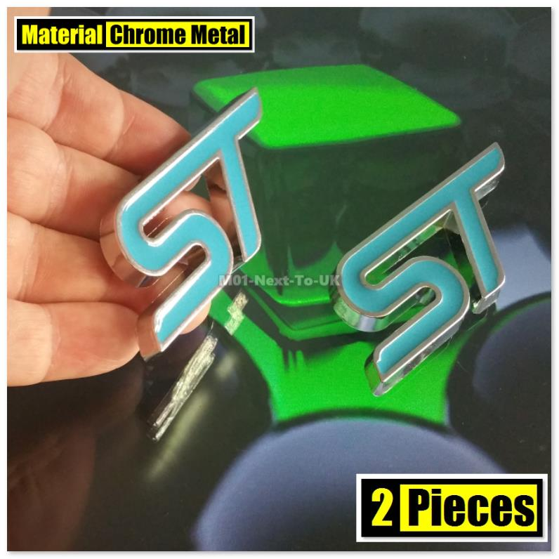 2x ST BLUE 7.2cm HQ Chrome 3D Metal Car Trunk Badge Side Auto Emblem L