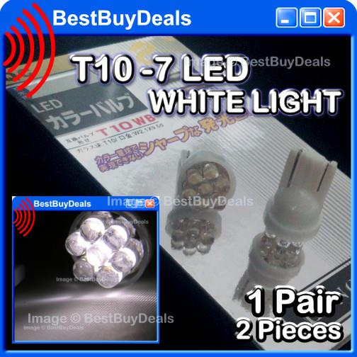 2x WHITE T10 7 LED Bulb 501 W5W 194 HID Style Xenon Bright Wedge