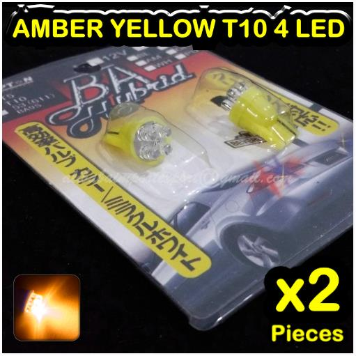 2xAMBER YELLOW T10 4 LED W5W 501 158 168 194 280 Wedge Lamp Light