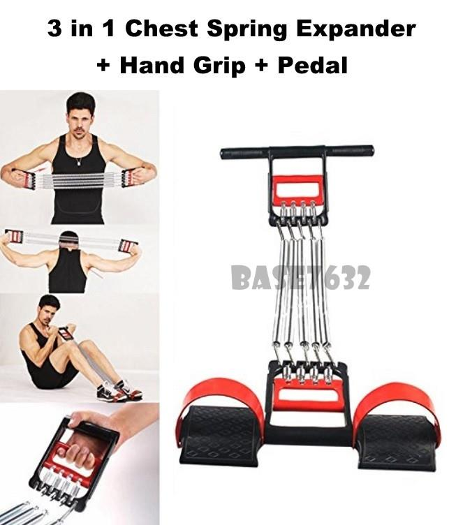 3 in 1  Chest Spring Pull Expander Hand Drip Pedal Muscle Exercise