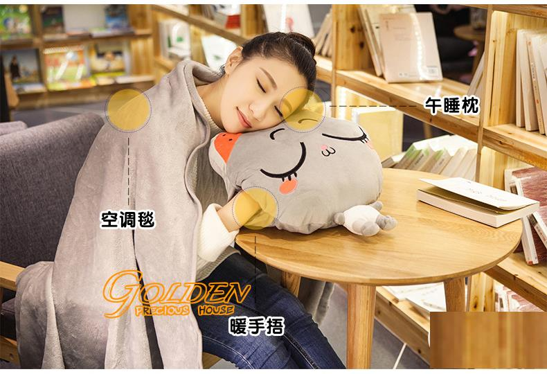 3 in 1 Cute Cat Pillow 3in1 Pillow blanket