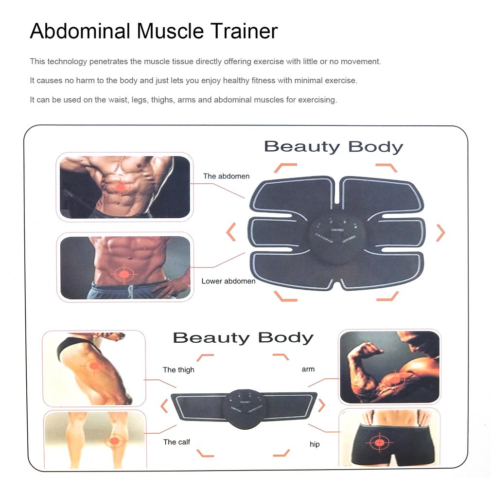 3-in-1 Electric Pulse Abdominal Muscle Trainer Suit Wireless Muscle St..