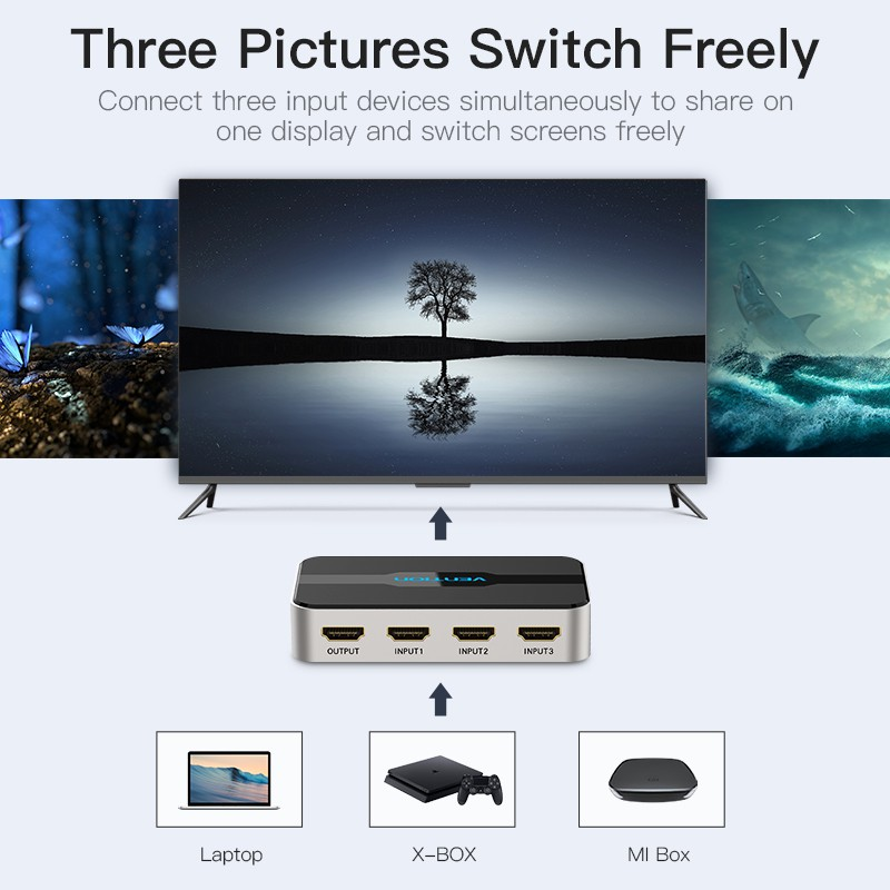 3 In 1 Out HDMI Switcher Splitter 4K Hd 3D Pip With Audio Separation -