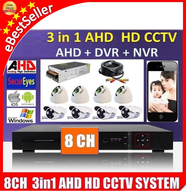 3 in 1 Latest 8 Channel AHD + DVR + NVR CCTV P2P Security HD Recorder