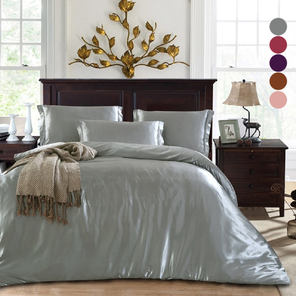 3 in 1 luxury bedding sets solid silk satin home bedclothes bed linen