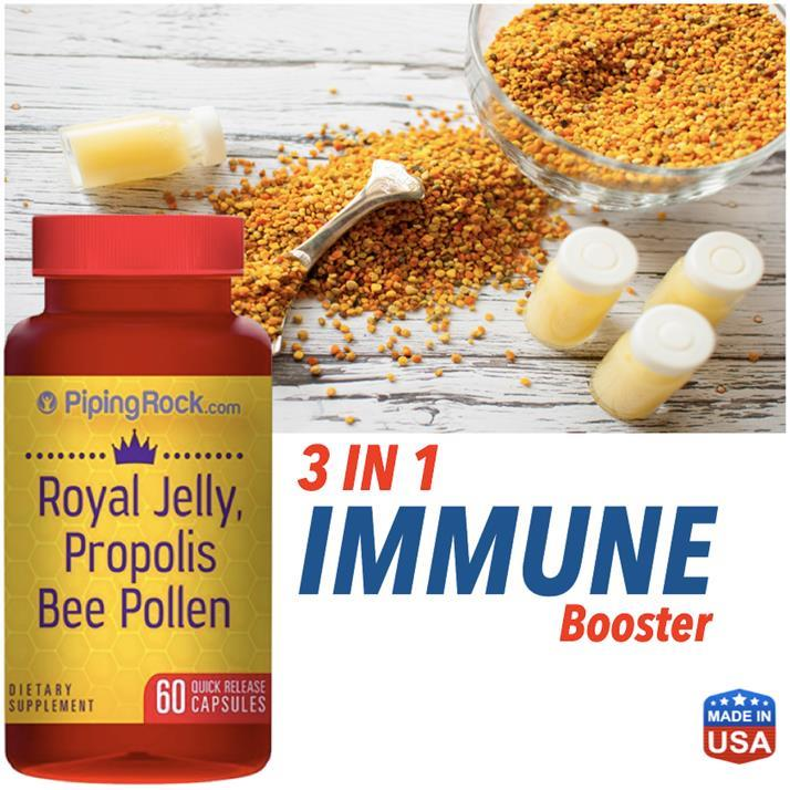 3 In 1, Royal Jelly, Propolis & Bee Pollen 60 Caps (Immune, Honey) USA