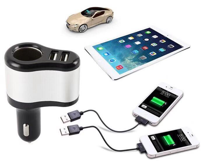 3 in 1 SOCKET CAR CIGARETTE CHARGER WITH 2 USB PORT