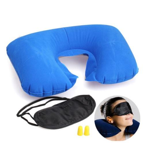 3 In 1 Travel Set Inflatable Neck Air Cushion Pillow /Eye Mask/Ear Plu