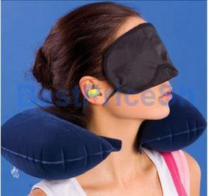 3 in 1 Travel U Shape Inflatable Neck Pillow Ear Plugs Luggage Lock