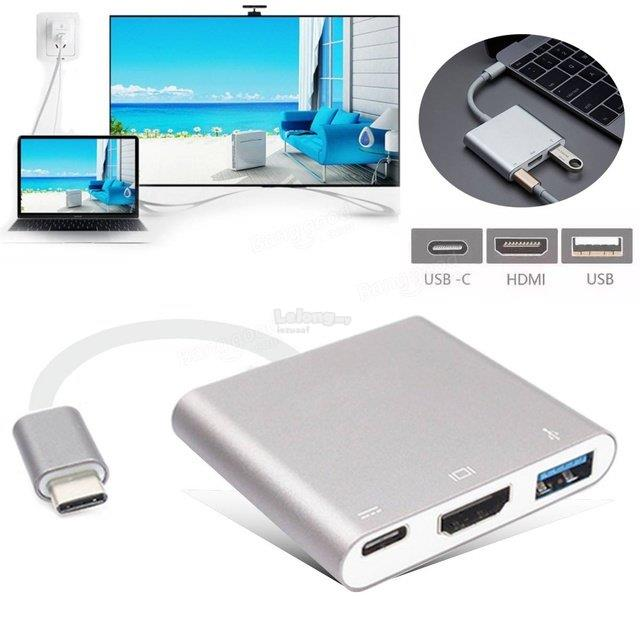 3 in 1 USB Type-C to HDMI Multiport Charging Converter HUB HDMI Adapte