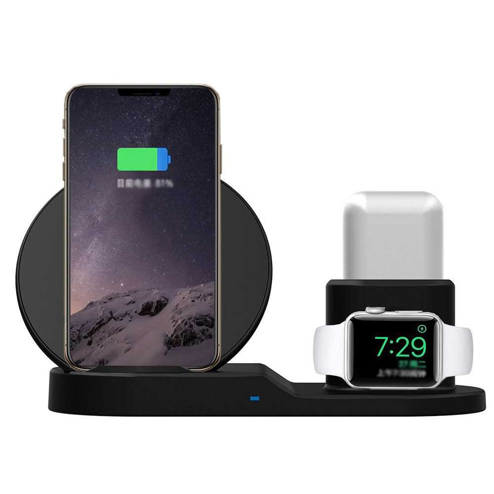 3-in-1 Wireless Desktop Charger QI 10W Quick Charge (Black)