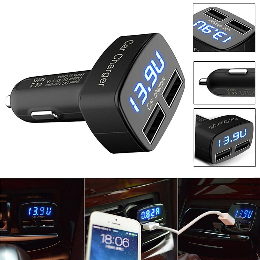3 1a 4 In 1 Dual Usb Car Charger With Batteries Voltage Display