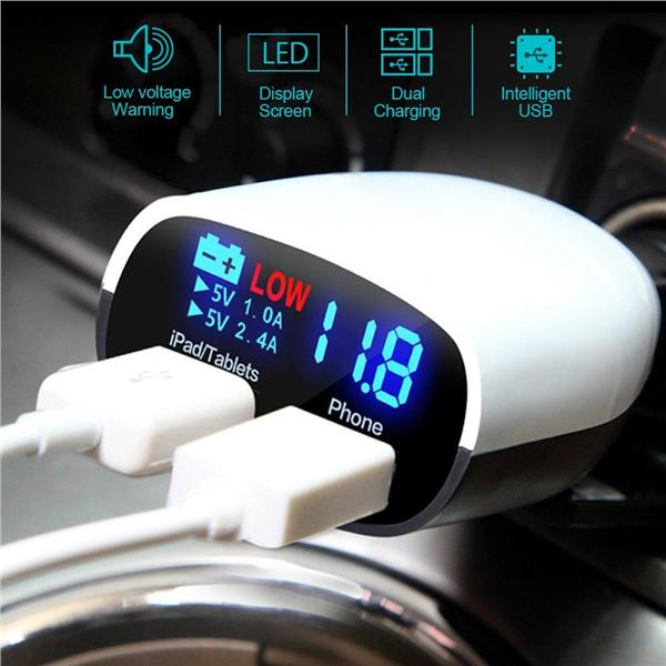 3.4A / Quick Charge Dual Port USB Charger With Car Batteries Voltmeter