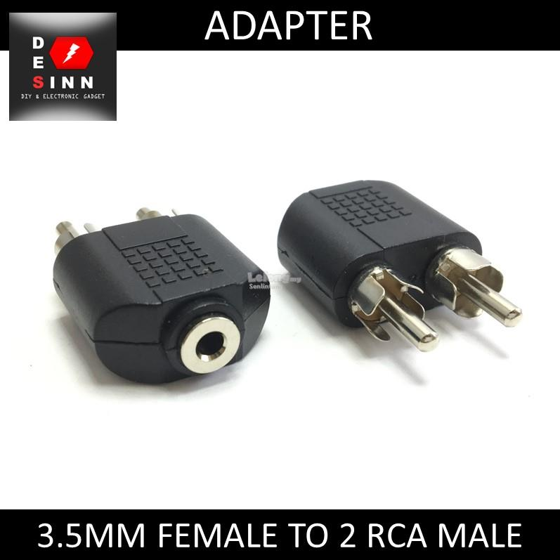 3.5mm Audio Jack Female to 2 RCA Male Adapter Converter
