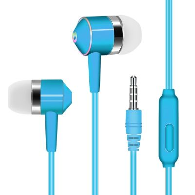 3.5mm In-Ear Headphones Super Bass Stereo for Xiaomi Huawei (MACAW BLUE GREEN)