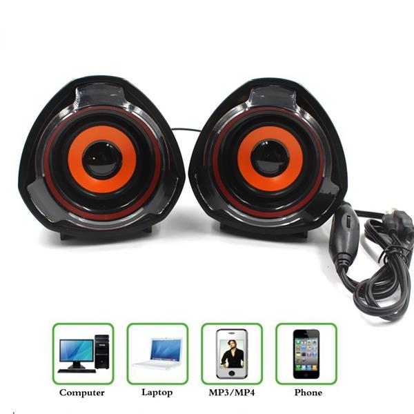 3.5mm Mini Speaker Music Player Powered By USB For Laptop Cellphone De