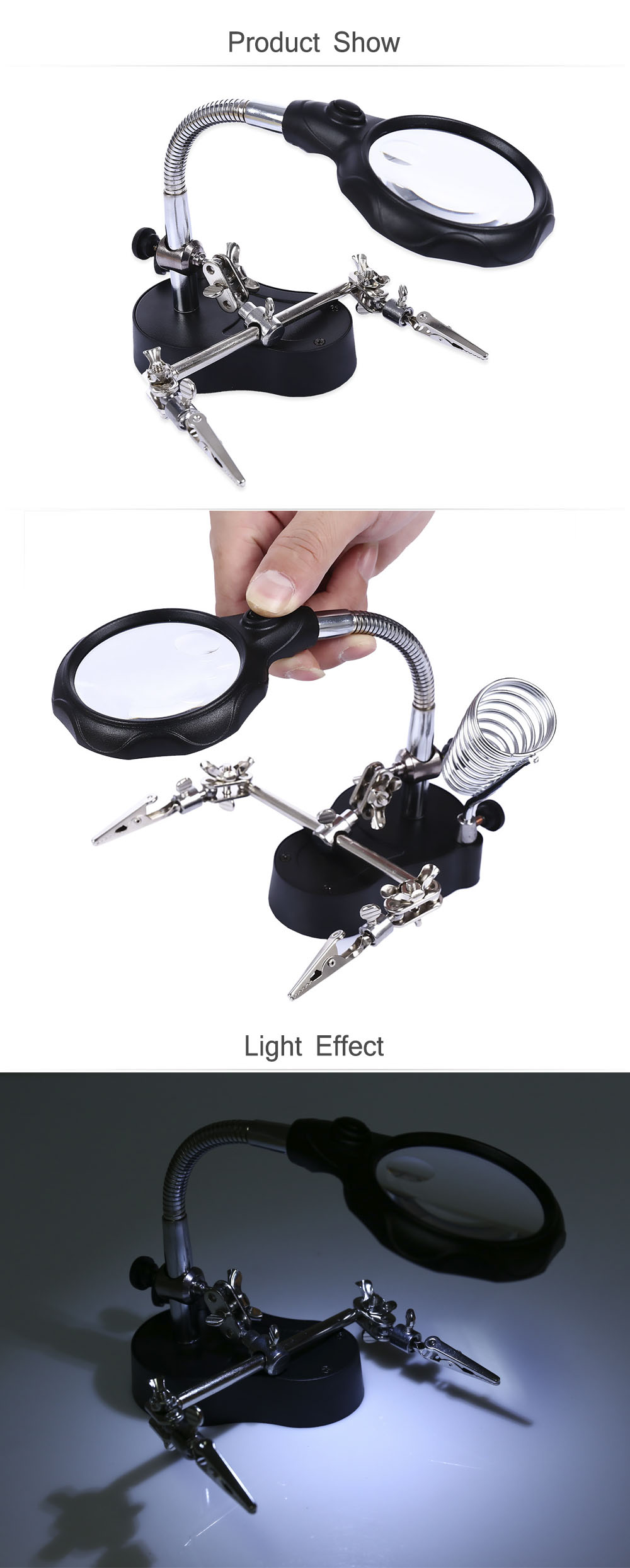3.5X 12X Two LEDs Light Desktop Reading Magnifier with Stand Repairing..