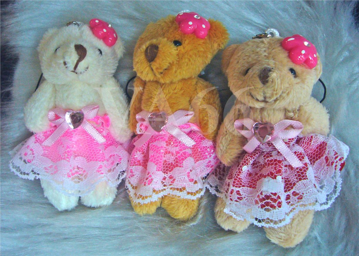 3 Embellished Girl Teddy Bears Keychains Skirt T003 Party Favors Strap