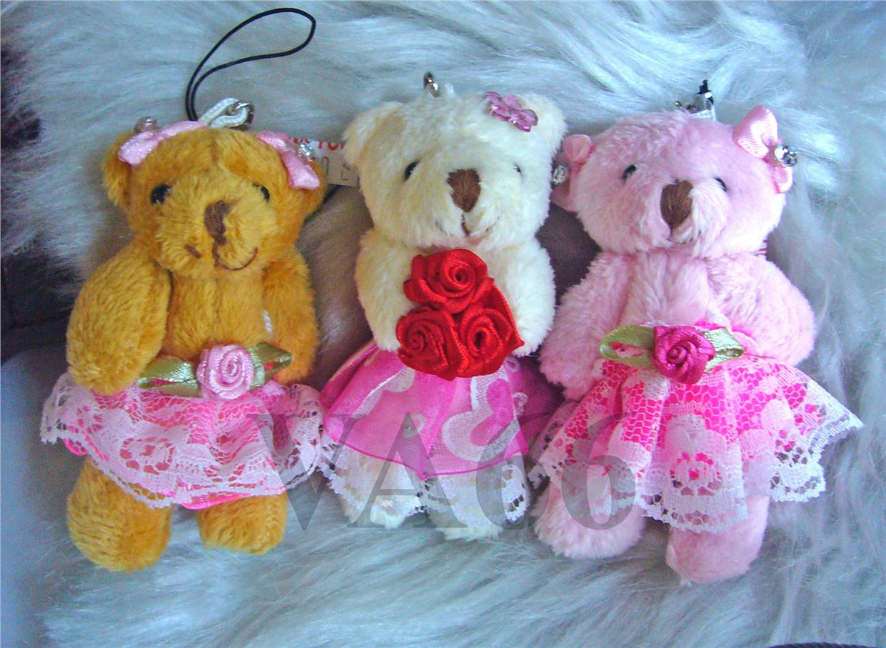 3 Embellished Girl Teddy Bears Keychains Skirt T007 Party Favors Strap
