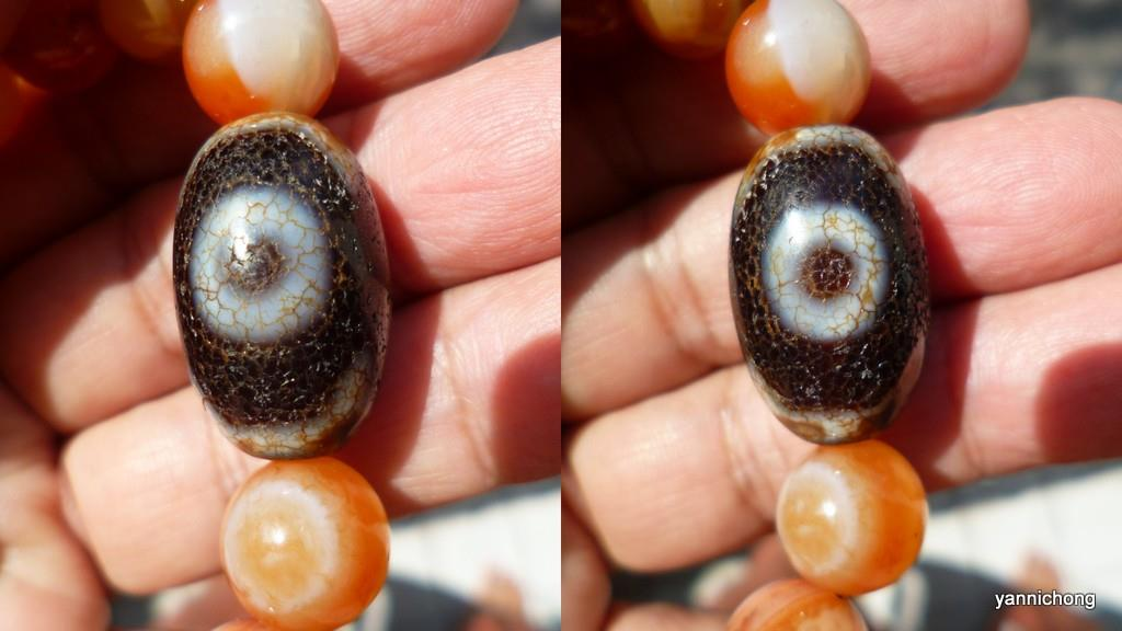 OLD 3 EYE TIBETAN DZI ORANGE AGATE BEADS