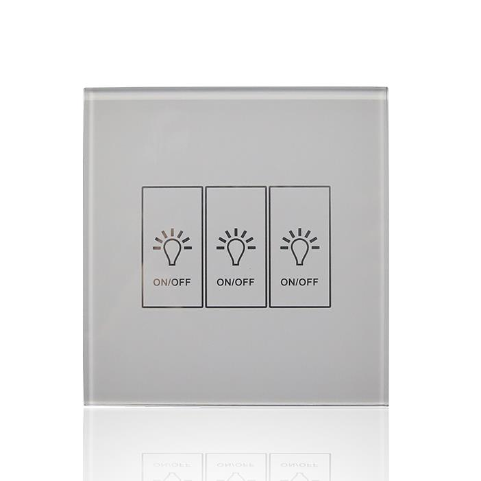 3 Gang 433Mhz Wall Light Remote Control Touch Screen Switch (UK)