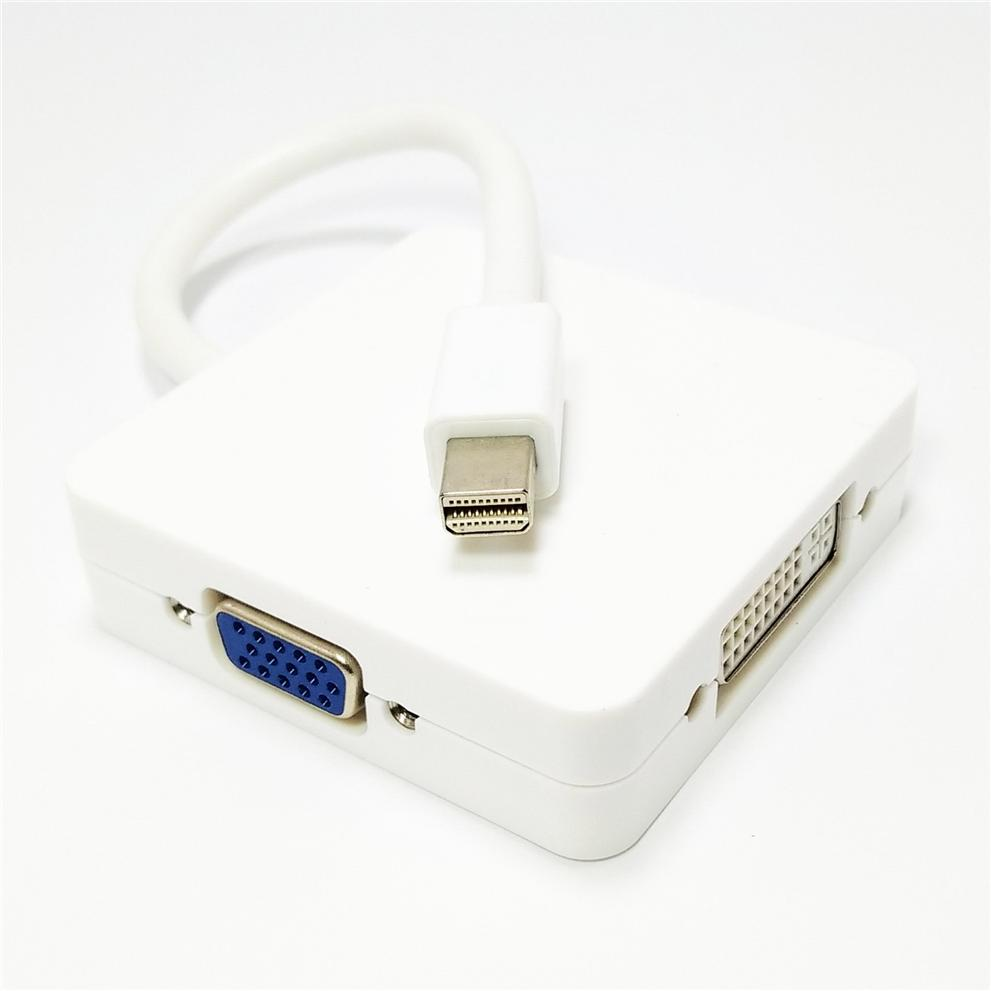 3 in1 Mini DP DisplayPort To HDMI DVI-D VGA Adapter Converter Cable