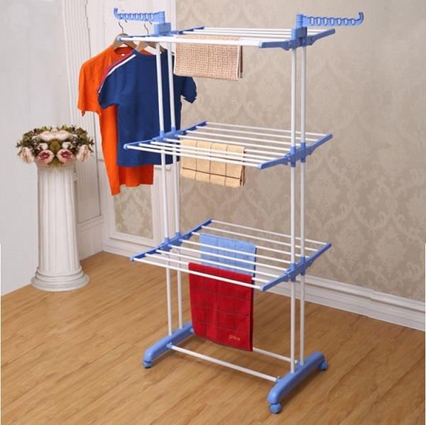 3 Layer Clothes Hanger Drying Rack Portable Foldable Laundry + Whee