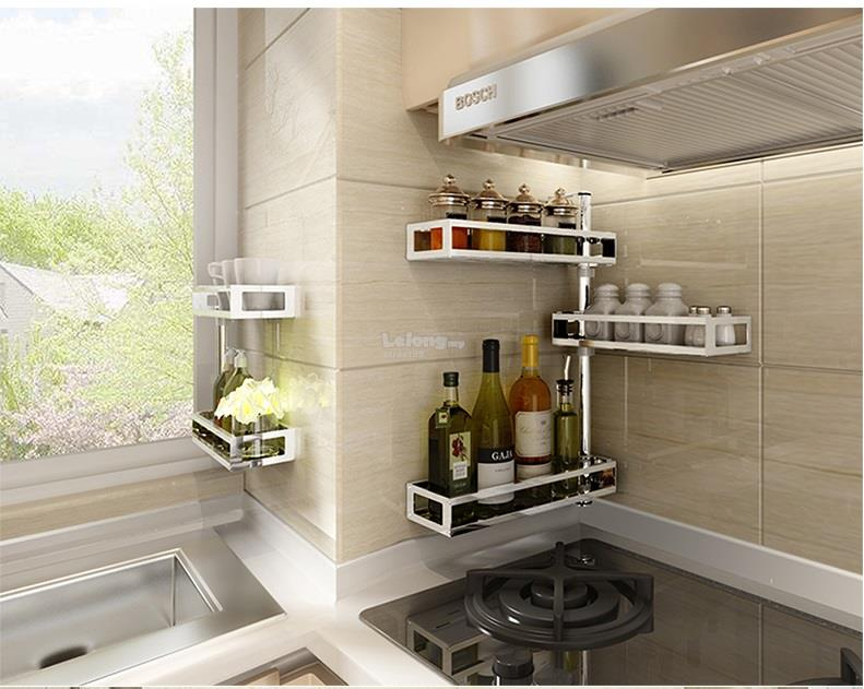 3 Layers Wall Shelves Stainless Steel Rotating Kitchen Rack E