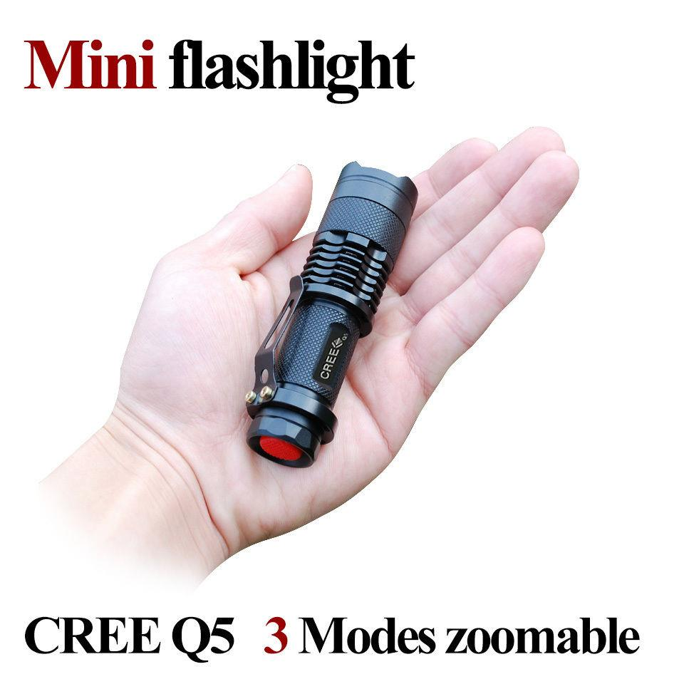 3 Mode CREE Q5 LED 1000lm Mini ZOOMABLE Flashlight Torch 14500/AA blac