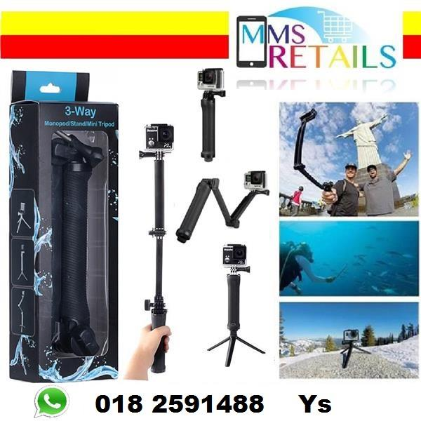 3 Way Monopod Adjustable Arm Mount stand Grip Tripods For Gopro SJCAM