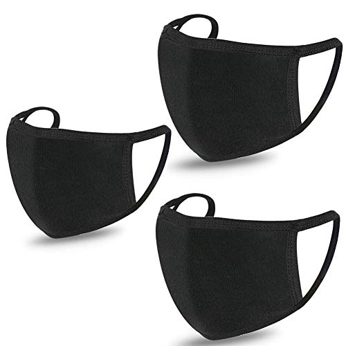 ..// 3 Pack Unisex Face Covering, Black Dust Cotton, Washable, Reusable Cloth-