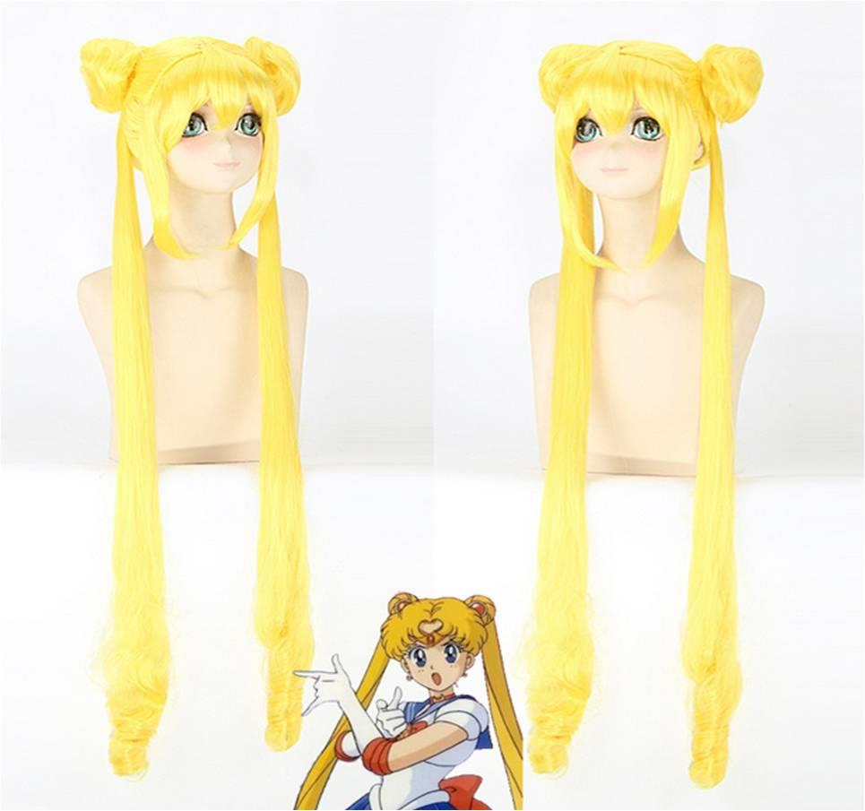 3 pcs Cosplay wig Sailormoon 120cm ready stock-rambut palsu