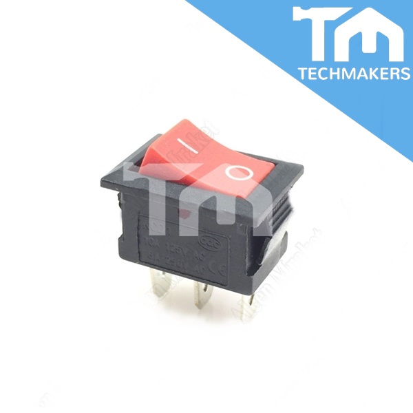 3-Pin KCD1-101 On/Off Rocker Switch SPST 6A/250V (Red)