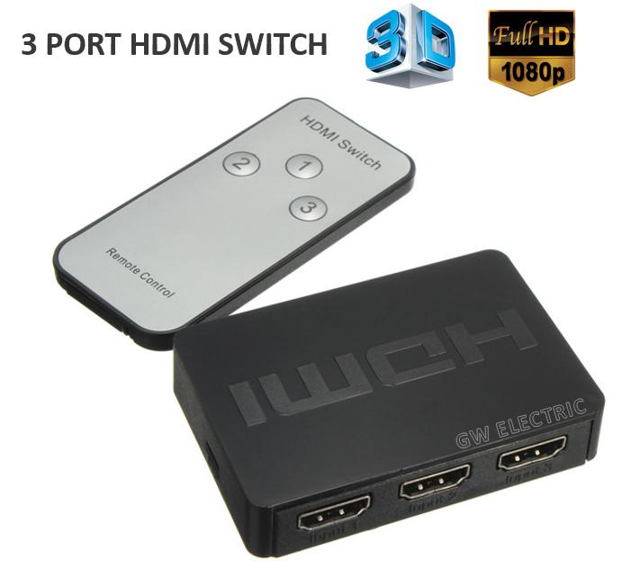 3 Port 1080P HDMI Switch Selector ~3D ~Remote Control For HDTV PS3