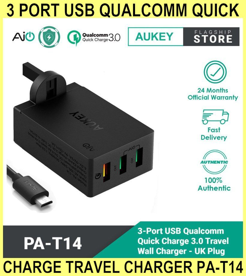 3 Port USB Qualcomm Quick Charge Travel Charger Pa-t14 - Aukey