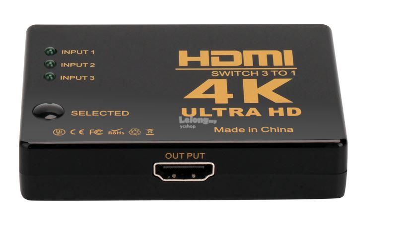3 Ports 4K HDMI Switch Selector Switcher Splitter Hub + Remote (TV56)