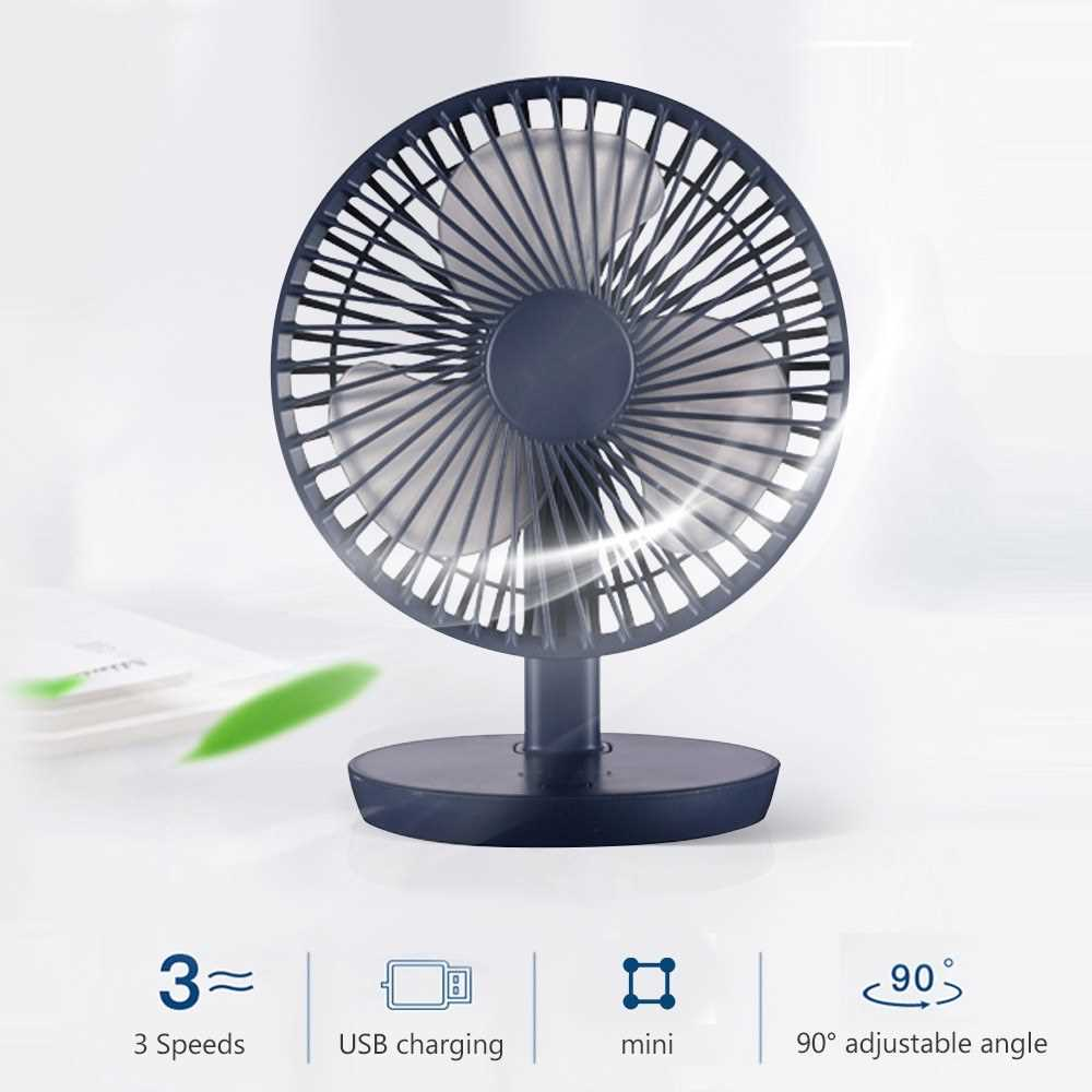 3 Speeds Mini USB Charging Desk Fan 90\u00b0 Adjustable Angle Portable