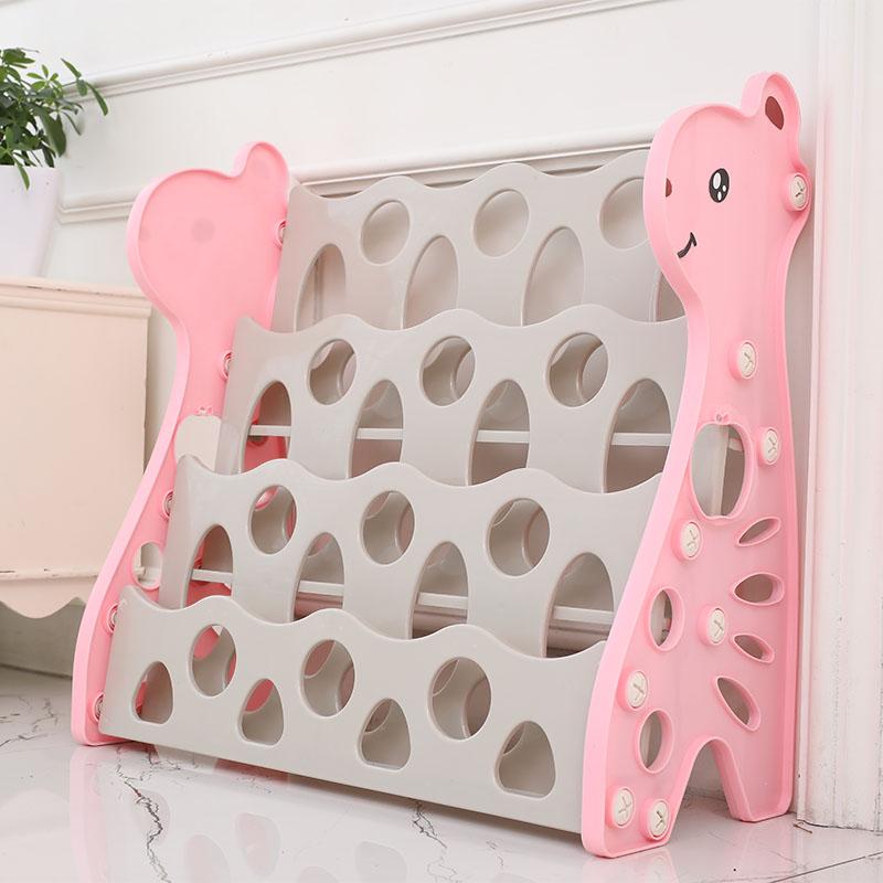 3 Tier Children Cute Giraffe Plastic Bookshelf Book Cartoon Picture