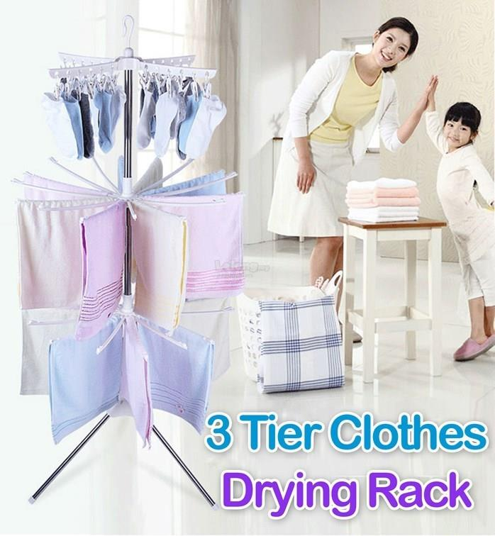 3 Tier / Layers Clothes Laundry Folding Drying Rack Wheels Hanger