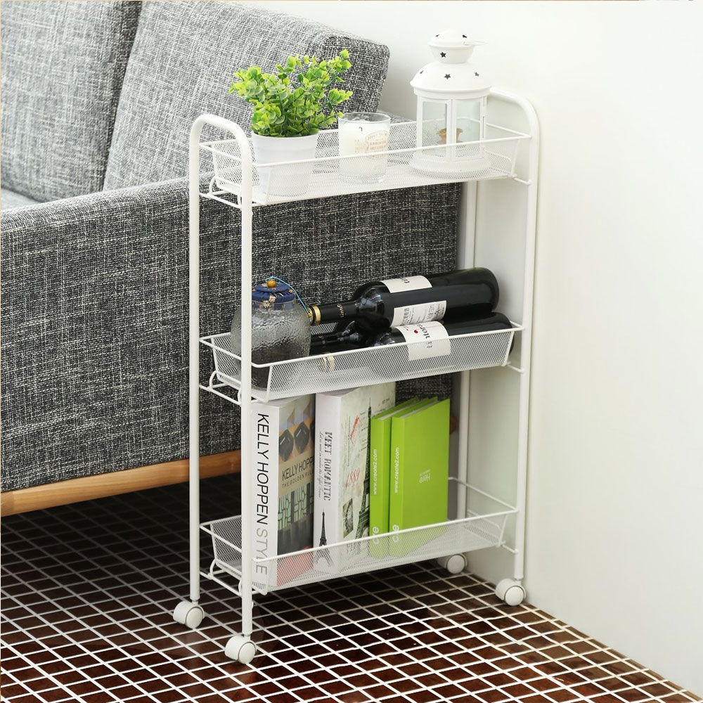 3 Tier Mesh Rolling Kitchen Cart With Baskets Slim Slide Out Storage