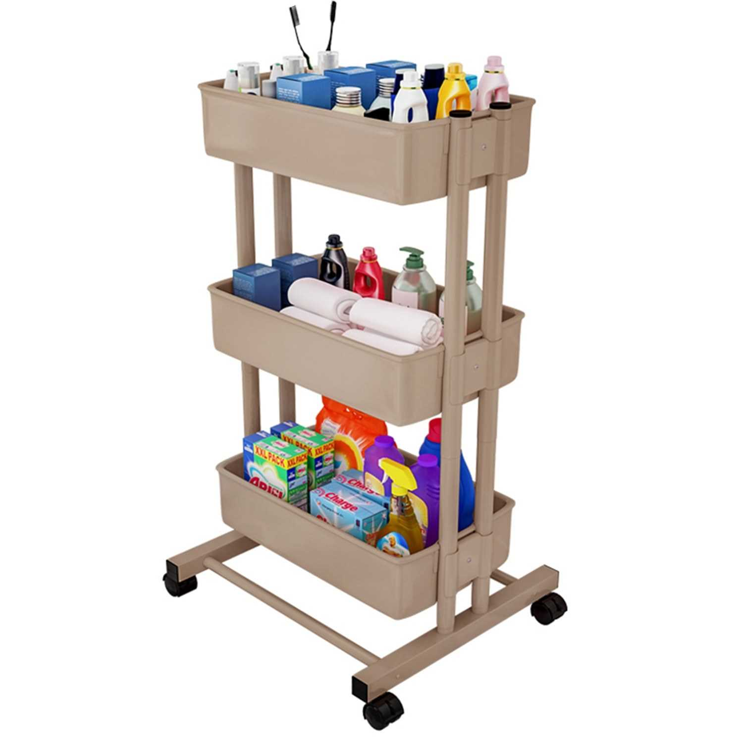 3 Tier Rolling Storage Utility Cart on Wheels Moveable Mobile Storage