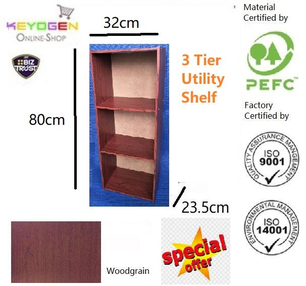 3 Tier wooden multipurpose Utility storage shelf organiser box rack